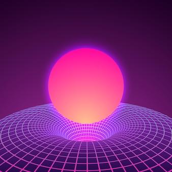 Czarna dziura i przestrzeń warp w neonowych kolorach z lat 80-tych