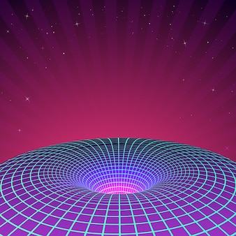 Czarna dziura w neonowych kolorach z lat 80. lub 90. ilustracja