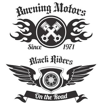 Czarna etykieta motocykla