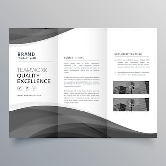 Czarna fala biznesu trifold broszura szablon projektu