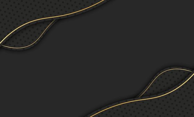 Czarna fala z półtonami i złotą linią. najlepszy projekt dla twojej firmy.