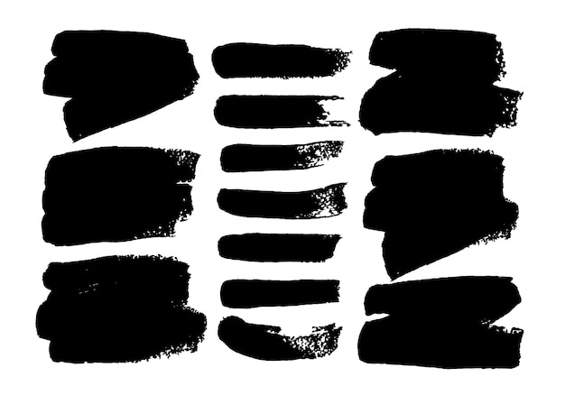 Czarna farba, pędzlem tuszem głaszcze grunge tekstury na białym tle. ilustracji wektorowych