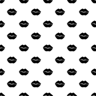 Czarna farba usta wektor wzór. abstrakcyjne usta dziewczyny i kobiety. monochromatyczny wzór tapety, modny nadruk na tkaninie.