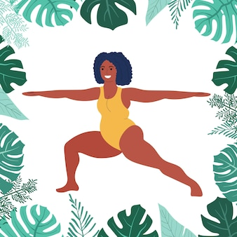 Czarna gruba kobieta ćwiczy jogę selflove fitness i nadwaga gruba dziewczyna siedząca w pozie jogi
