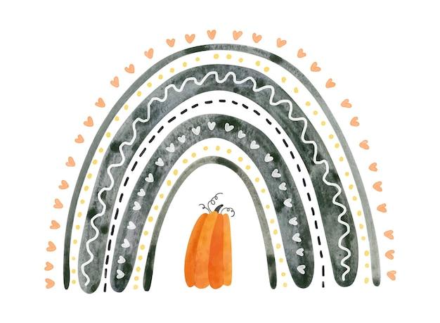Czarna halloweenowa tęcza z dynią. śliczna akwarela ilustracja dla dzieci halloween.