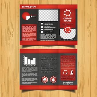 Czarna i czerwona gwiazda broszura trifold