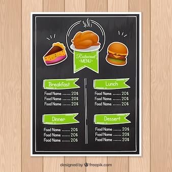 Czarna i zielona restauracja menu