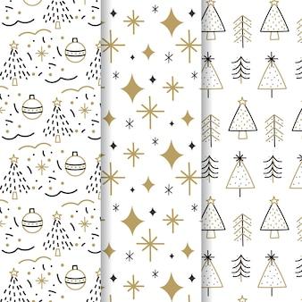 Czarna i złota kolekcja świątecznych wzorów