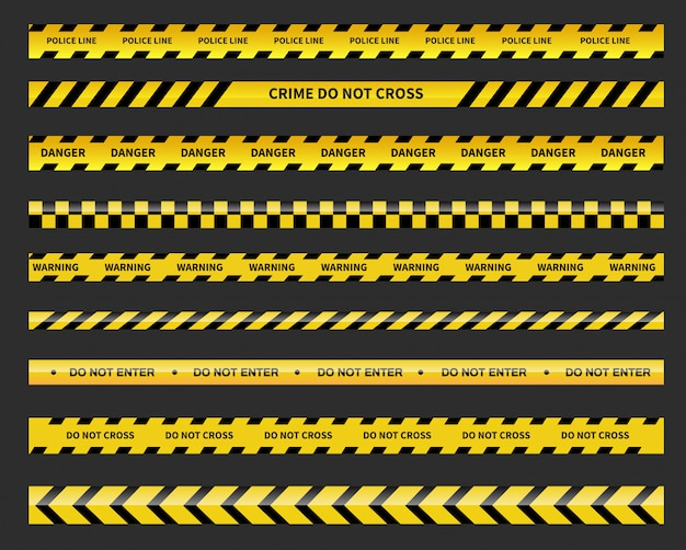 Czarna i żółta linia w paski. linia policyjna. taśmy ostrzegawcze i niebezpieczne.