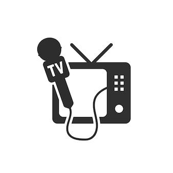 Czarna ikona telewizora i mikrofonu. koncepcja globalnego radia internetowego, wywiadów prasowych, mówienia, kanałów telewizyjnych. na białym tle. płaski trend w nowoczesnym stylu projektowania ilustracji wektorowych