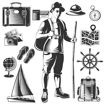 Czarna ikona vintage wanderlust zestaw z podróżnikiem i jego bagażem na białym tle