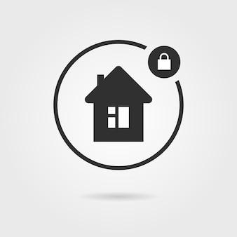 Czarna ikona zamkniętego domu z cieniem. koncepcja inwestycji, dziurka od klucza, struktura, prywatność, tajemnica, deweloper. na białym tle na szarym tle. płaski trend w nowoczesnym stylu projektowania ilustracji wektorowych
