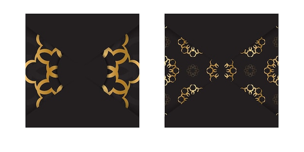 Czarna karta kolorów ze złotym abstrakcyjnym wzorem