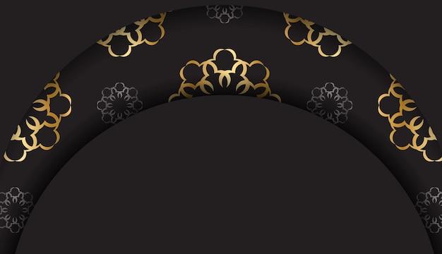 Czarna karta ze złotym wzorem mandali
