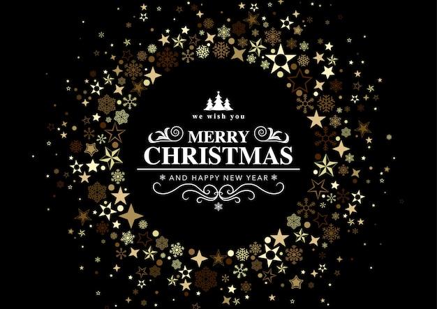 Czarna kartka świąteczna z okrągłym zdobieniem