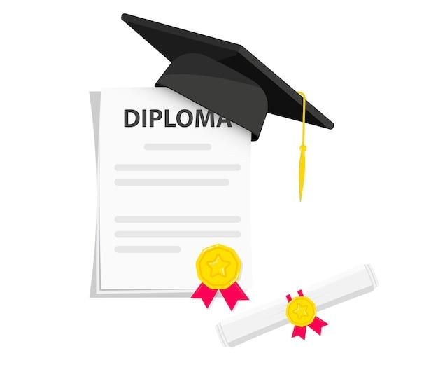 Czarna kasztana ze stopniem. czarny kapelusz absolwenta uniwersytetu, elementy projektu. czapka i dyplom ukończenia studiów. element do ceremonii wręczania dyplomów i programów edukacyjnych. ukończenie uniwersytetu lub kolegium