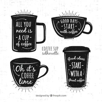 Czarna kawa koncepcja z napisem
