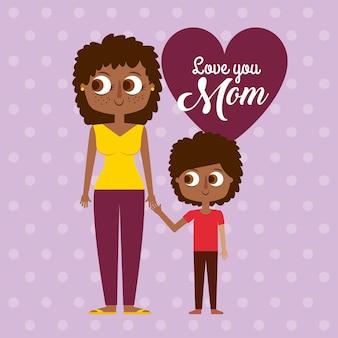 Czarna kobieta matka i syn karta