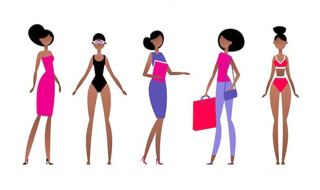 Czarna kobieta w różnych stylach ubrań, o różnych fryzurach i pozach. model w prostym płaskim abstrakcyjnym stylu. ilustracja