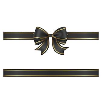 Czarna kokardka i wstążka ze złotym brzegiem