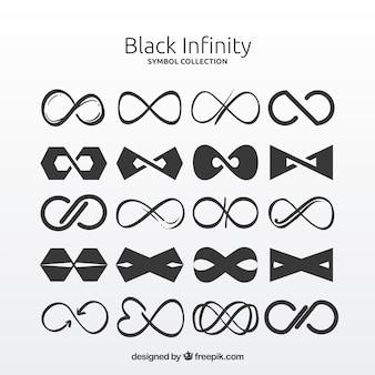 Czarna kolekcja symboli nieskończoności