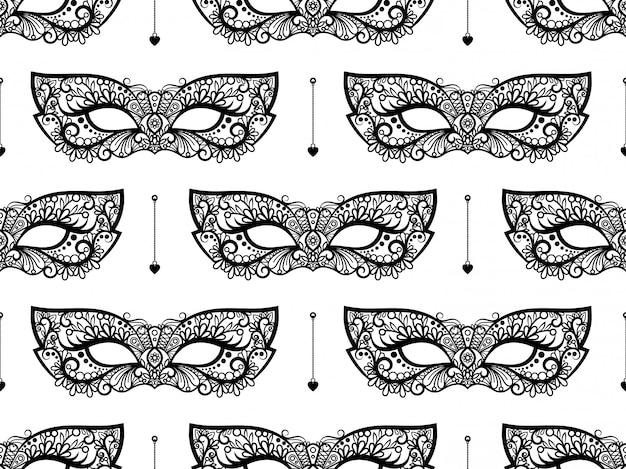 Czarna koronkowa maska wzór