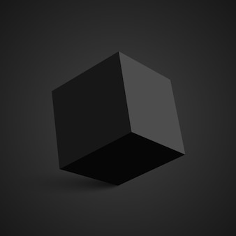 Czarna kostka. kwadratowe pudełko. .