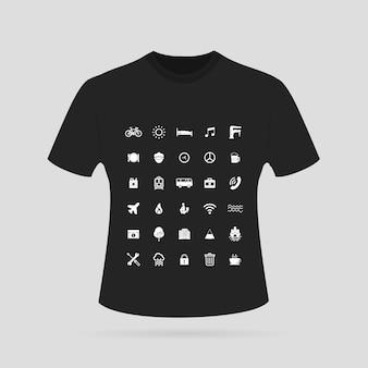 Czarna koszula makiety projektowe
