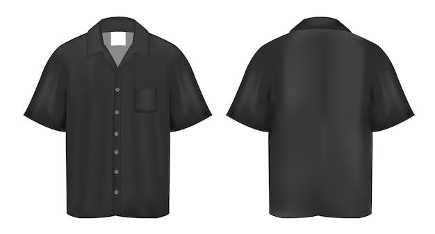 Czarna koszulka polo na białym tle