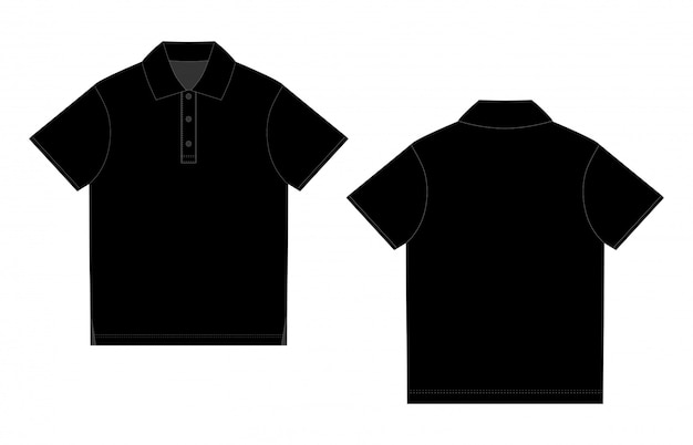 Czarna koszulka polo. wektor przedni i tylny. szkic techniczny koszulka polo unisex