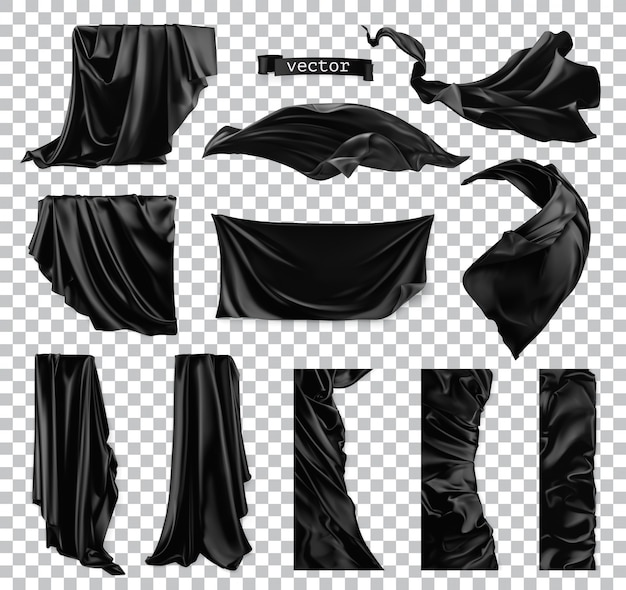 Czarna kurtyna. draperia 3d realistyczny zestaw