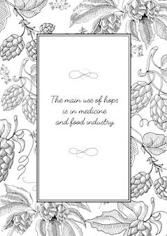 Czarna kwadratowa ramka z bajkami chmielowymi z jagodami, liśćmi i wieloma ozdobnymi zawijasami