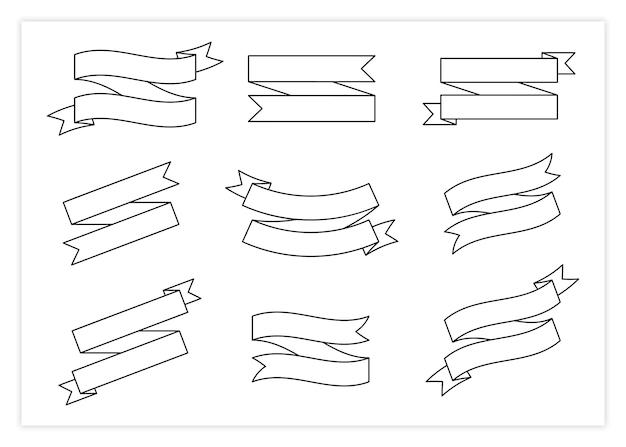 Czarna linia wstążka transparent wektor zestaw ilustracji vintage design kręcone etykiety wstążki i zakrzywione