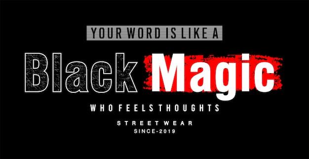Czarna magiczna typografia do koszulki z nadrukiem