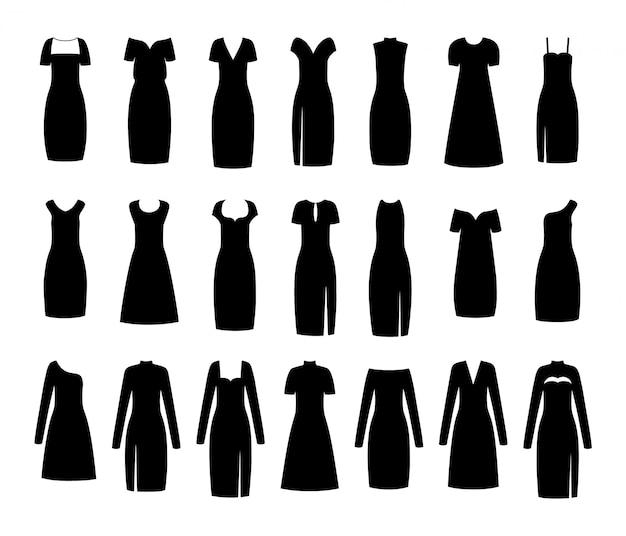 Czarna mała sukienka. damskie ubrania.