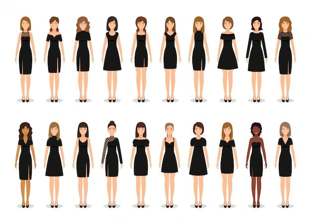 Czarna mała sukienka dla kobiet. zestaw eleganckich sukienek koktajlowych. . kolekcja odzieży. odzież silhouette. ikona ubrania dla dziewcząt na białym tle. płaska ilustracja.