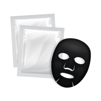 Czarna maska do twarzy. pakiet kosmetyczny