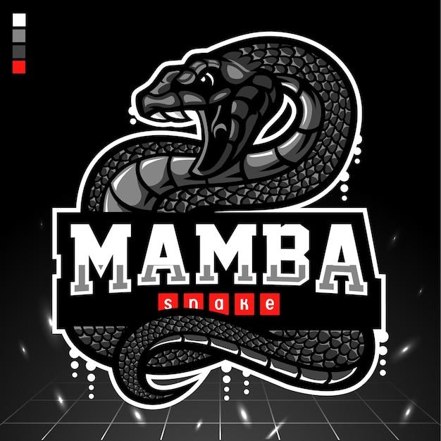 Czarna maskotka węża mamby. logo esport