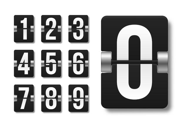 Czarna mechaniczna tablica wyników z różnymi numerami ilustracji