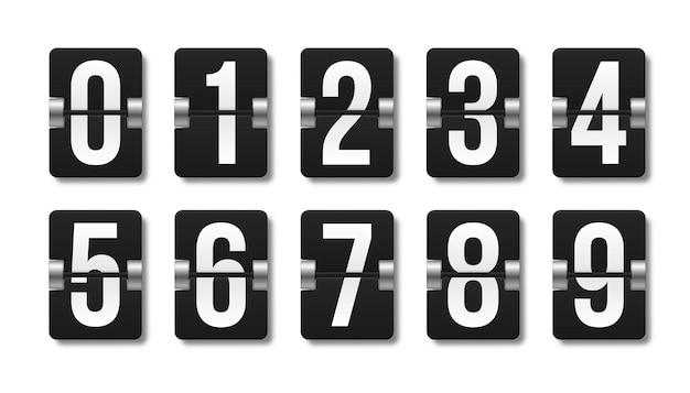 Czarna mechaniczna tablica wyników z różnymi numerami