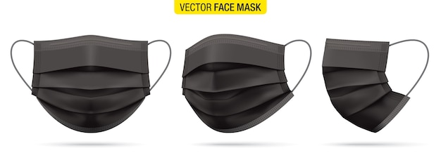 Czarna medyczna maska na twarz z przodu, w trzech czwartych iz boku. zestaw masek ochronnych przed wirusem koronowym