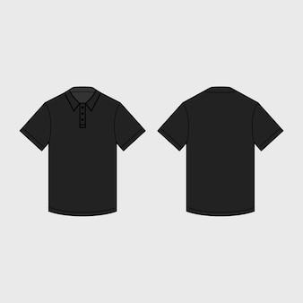 Czarna męska koszulka polo do szablonu.
