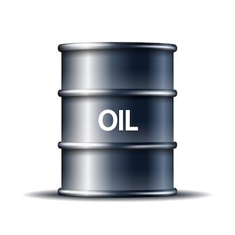 Czarna metalowa baryłka ropy naftowej z słowem olej na bielu