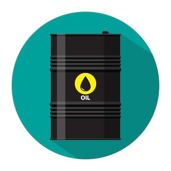 Czarna metalowa beczka na olej z ikoną logo