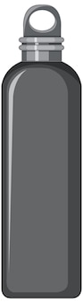 Czarna metalowa butelka wody na białym tle