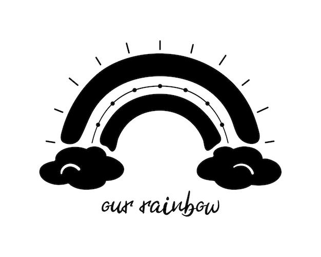 Czarna monochromatyczna tęcza z chmurami ręcznie rysowana ikona element pogody plakat drukuj pokój dziecięcy