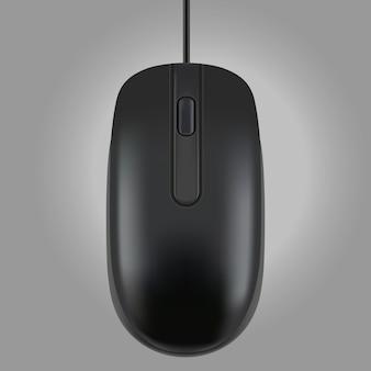 Czarna mysz odizolowywająca na popielatym tle, wektorowa ilustracja