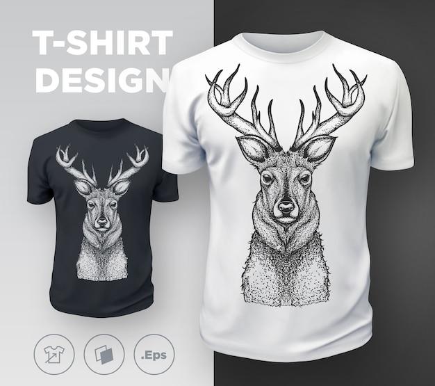 Czarna, nowoczesna koszulka z nadrukiem jelenia. .
