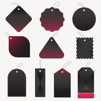 Czarna odznaka naklejki, pusty wektor prosty zbiór przestrzeni tekstowej clipart