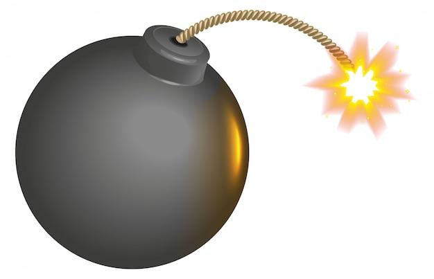 Czarna okrągła bomba z płonącym knotem